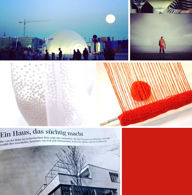 Mondlandschaft vorm Hauptbahnhof, Ein Haus das suechtig macht, rot, weben