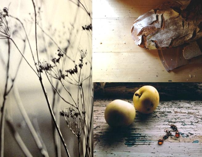 Zwischenzeit Matimuk, Brot mit Butter, Apfel, Ohrringe, Holz, Fastenzeit