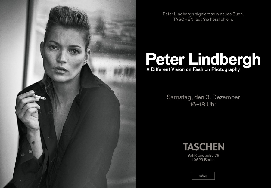 Einladung zur Signierstunde von Pter Lindbergh im TASCHEN Store Berlin