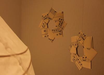 Weihnachtssterne, Papiersterne, Notenpapier, DIY, Weihnachten, Wehnachtsdeko