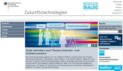 Bürgerdialog Zukunftsthemen, BMBF, Intensiv- und Palliativmedizin