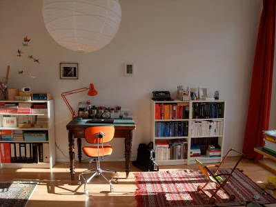Arbeitsplatz, Eiermann, Architektentisch, Lampe aus Reispapier