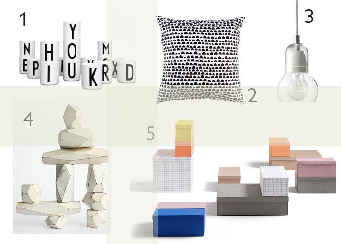 Arne Jacobsen cups, Kissenhülle heuteschmidt, &Tradition Bulb Pendelleuchte, balancing block set von Fort Standard; HAY Blocks