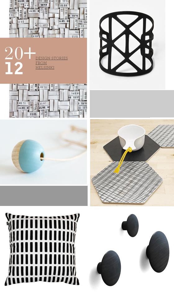 20+12 design stories from helsinki, Armreif von cos, Holzperlenkette von heuteschmidt, Untersetzer von rk, Kissen von artek, Wandhaken von muuto