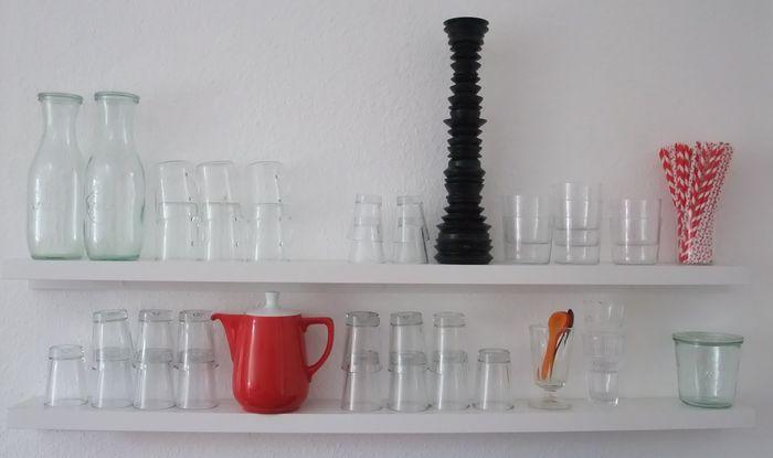 glas, regal, küche