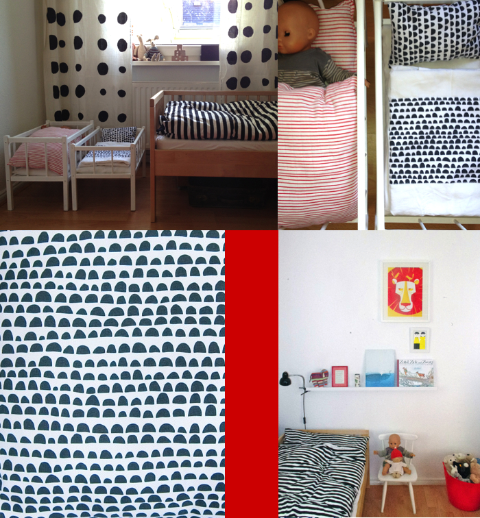 Kinderzimmer, rot-weiß, Vintage, Dreirad, snug ABC
