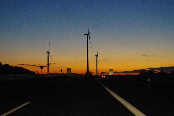 Herbst, Brandenburg, Wasser, Kanal, Autobahn, Windräder