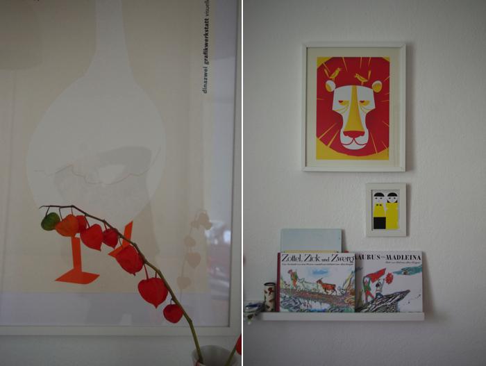 Kinderzimmer, Bilderwand, Bilderbücher, Löwe
