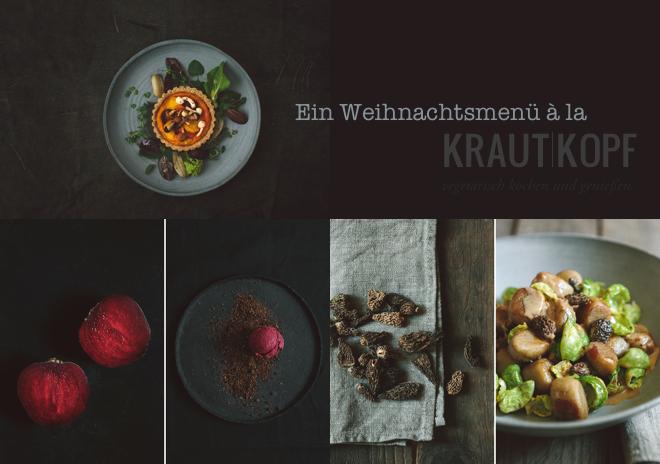 Kürbistarte, Maronengnocchi  und Rote-Beete-Eis. Ein Weihnachtsmenü von und mit Krautkopf. 3-Gang-Weihnachtsmenü