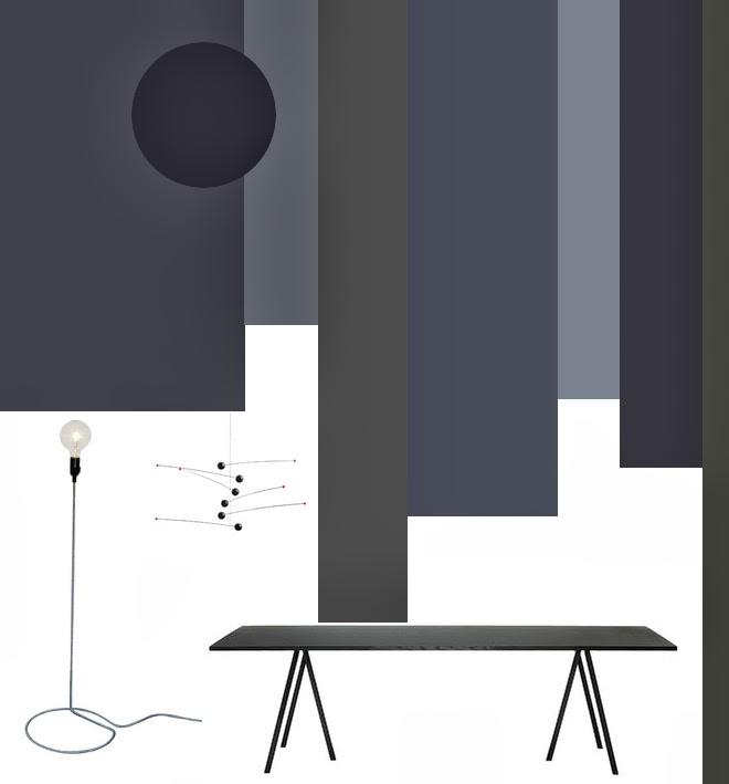 M i MA zügelt, Farbgestaltung, Farben, Grautöne, Schwarz, bunt, HAY, Loop Stand Tisch, Flensted Mobile, Futura, Stehleuchte, Cord Lamp, Connox