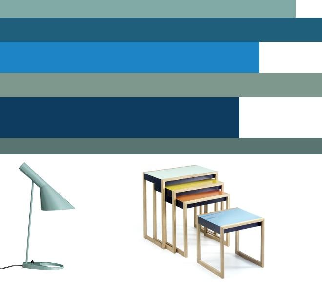 M i MA zügelt, Farbgestaltung, Farben, Türkis, Blaugrün, Connox, Josef Albers Nesting Tables, Arne Jacobson Tischleuchte
