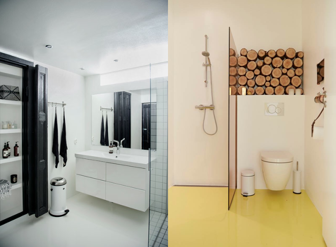 M i MA zügelt. Wohnimpressionen, Badezimmer, Dusche, Waschbecken, WC, www.altfordamerne.dk