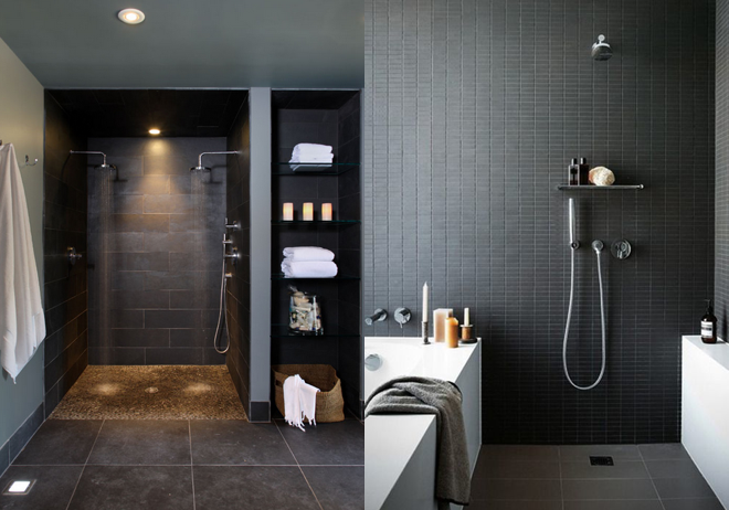 M i MA zügelt. Wohnimpressionen, Badezimmer, Dusche, Waschbecken, WC, Badewanne, Dusche, grau