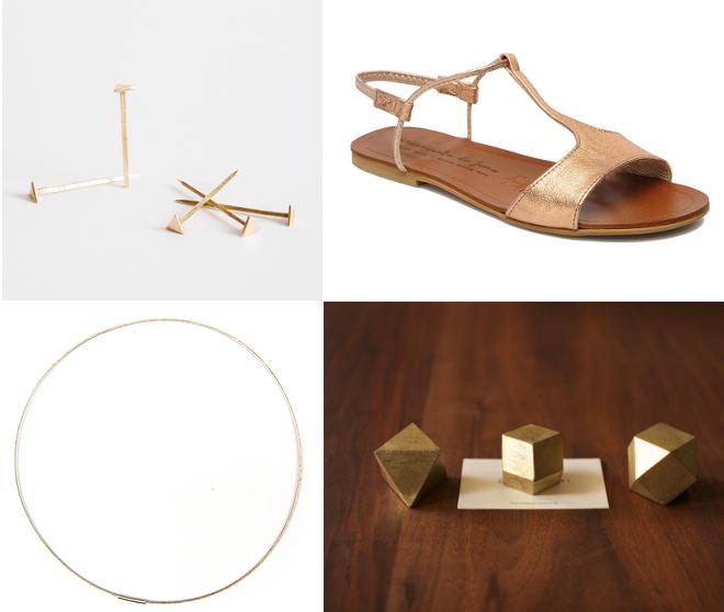 Triangelnaegel Wisome Brave Shop, Sandalen Manuela de Juan, Armreif Saskia Diez, geometrische Briefbeschwerer Futagami. S