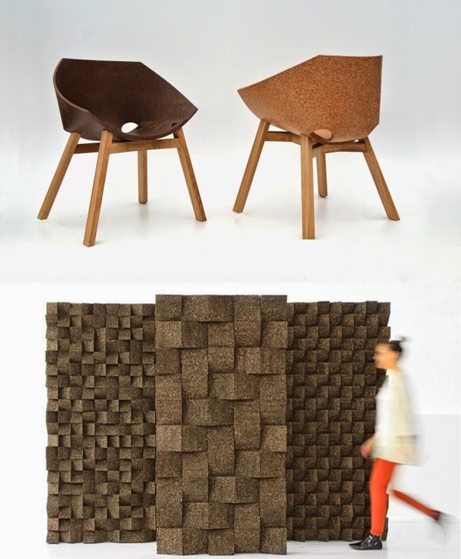 "Stühle ""Corkigami"" von Carlos Ortega, Korkwand von Tania da Cruz, Kork"
