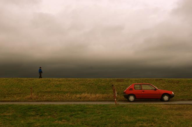 Auto, Deich, Elbe, Wendland
