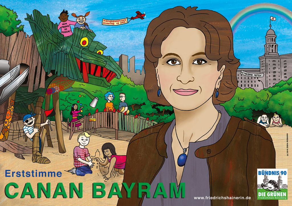 Wahlplakat von Canan Bayram die Grünen