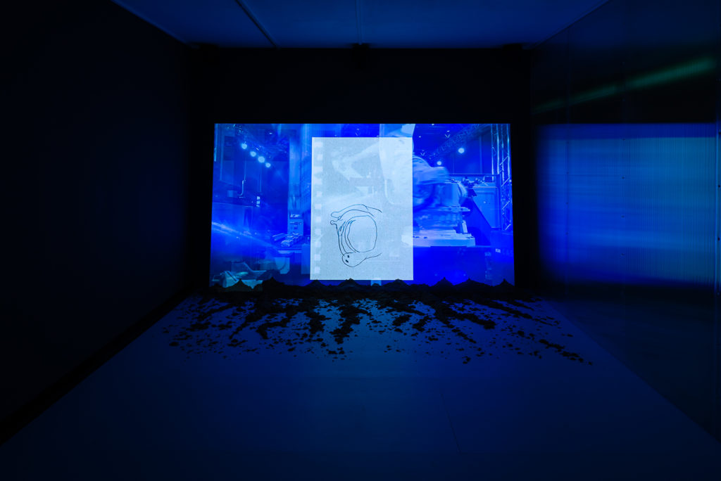 Ausstellungsansicht: Antarktika. Eine Ausstellung über Entfremdung, Kunsthalle Wien 2018, Foto: Jorit Aust: Isaabella Fürnkäs. In Ekklesia, 2015, Courtesy die Künstlerin